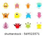 monster big set. cute cartoon... | Shutterstock . vector #569523571