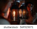 Woman Candle Lamp Dark Night
