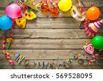 colorful birthday or carnival... | Shutterstock . vector #569528095