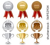 gold silver and bronze medals...   Shutterstock .eps vector #56952934