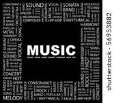 music. word collage on black... | Shutterstock .eps vector #56953882