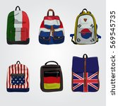 Set Of Modern Backpacks With...