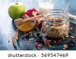 healthy breakfast with rolled... | Shutterstock . vector #569547469