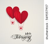 cut paper red valentine hearts... | Shutterstock .eps vector #569557957