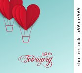 cut paper red valentine hearts... | Shutterstock .eps vector #569557969