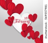 cut paper red valentine hearts... | Shutterstock .eps vector #569557981