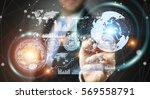 businessman moving digital... | Shutterstock . vector #569558791
