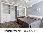contemporary bedroom design in... | Shutterstock . vector #569572411