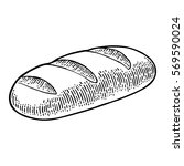 loaf of bread. vector black... | Shutterstock .eps vector #569590024