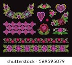 set elements embroidery ... | Shutterstock .eps vector #569595079