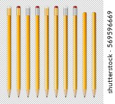 vector realistic pencil icon... | Shutterstock .eps vector #569596669