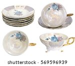 set of antique tea cup ... | Shutterstock . vector #569596939
