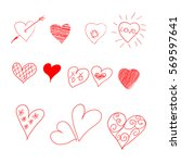 hand drawn set of hearts.... | Shutterstock .eps vector #569597641