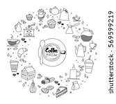 coffee and cake time doodles... | Shutterstock .eps vector #569599219