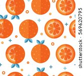 seamless pattern with orange... | Shutterstock .eps vector #569620795