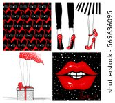 super kit with fashion vector... | Shutterstock .eps vector #569636095