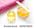 wax for depilation on white... | Shutterstock . vector #569655835