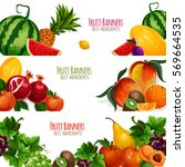 fruits banners. farm fruits... | Shutterstock .eps vector #569664535