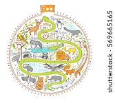 hand drawn map of zoo | Shutterstock .eps vector #569665165