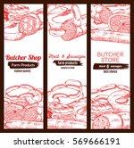 meat banners set. butcher shop... | Shutterstock .eps vector #569666191
