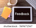 tablet pc with feedback and a... | Shutterstock . vector #569671567