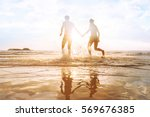 happy young couple having fun... | Shutterstock . vector #569676385