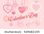 happy valentines day greeting... | Shutterstock .eps vector #569682145