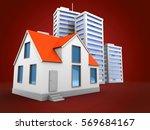 3d illustration of city over... | Shutterstock . vector #569684167