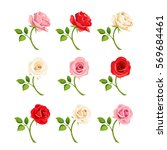 vector set of red  pink and... | Shutterstock .eps vector #569684461
