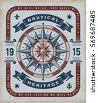 vintage nautical heritage... | Shutterstock . vector #569687485