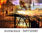 double exposure of silhouette... | Shutterstock . vector #569710585