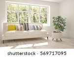 white room with sofa and green... | Shutterstock . vector #569717095