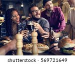 diverse people hang out pub... | Shutterstock . vector #569721649