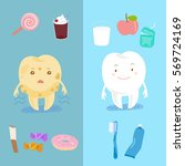 cute cartoon healthy tooth with ...   Shutterstock .eps vector #569724169