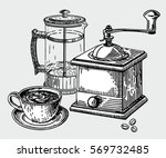hand drawn coffee set  coffee... | Shutterstock .eps vector #569732485