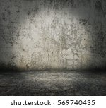Old Grungy Room With Concrete...