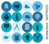 school and education icon set.... | Shutterstock .eps vector #569745121