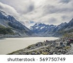 hooker lake with mount cook in... | Shutterstock . vector #569750749