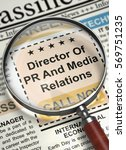 Stock photo director of pr and media relations newspaper with the small ads of job search newspaper with 569751235