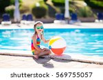 little girl playing in outdoor... | Shutterstock . vector #569755057