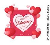 modern romantic happy valentine ... | Shutterstock .eps vector #569756599