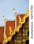 Wat Benchamabophit Dusitvanaram with Chofah, is one of the Thai architectural decorative ornament - stock photo