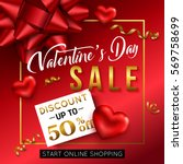 valentines day sale banner for... | Shutterstock .eps vector #569758699