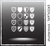 shield sign icons  vector... | Shutterstock .eps vector #569763265