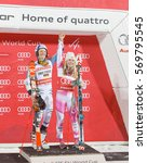 Small photo of STOCKHOLM, SWEDEN - JAN 31, 2017: Smiling winner Linus Strasser (GER) and Mikaela Shiffrin (USA) on the podium at the FIS Alpine Ski World Cup - city event January 31, 2017, Stockholm, Sweden