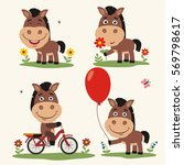 Stock vector set of funny horse plays on meadow on bicycle with balloon and flower in cartoon style 569798617