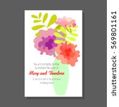 wedding invitation card with... | Shutterstock .eps vector #569801161