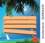 signboard on the beach | Shutterstock .eps vector #569806339