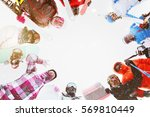 group of adult men and women... | Shutterstock . vector #569810449