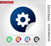 colored icon or button of gear... | Shutterstock .eps vector #569814331